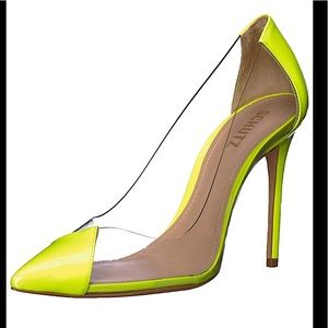 "Schutz 4"" transparent lime yellow pointed toe pump"